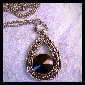 Antiqued silver long necklace